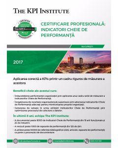 Certificare Profesionala: Indicatori Cheie de Performanta, 8 - 10 Noiembrie in Bucuresti