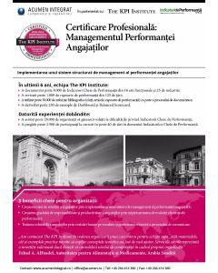 Certificare Profesionala: Managementul Performantei Angajatilor