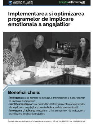 Implementarea si optimizarea programelor de implicare emotionala a angajatilor (employee engagement)