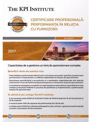 Certificare Profesională: Performanța în Relația cu Furnizorii, 28 - 30 Septembrie în București