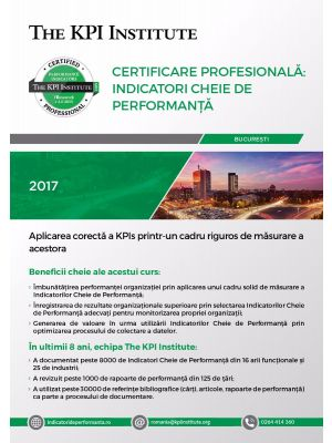 Certificare Profesionala: Indicatori Cheie de Performanta, 21 - 23 Martie 2019 in Bucuresti