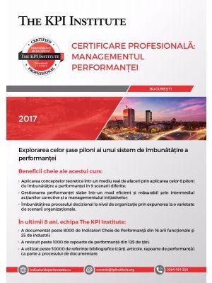 Certificare Profesională: Managementul Performanței, 13 - 15 Decembrie 2018 in Bucuresti