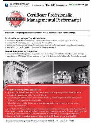 Certificare Profesionala: Managementul Performantei