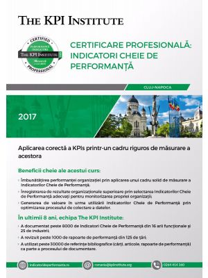 Certificare Profesionala: Indicatori Cheie de Performanta, 15 - 17 Noiembrie in Cluj