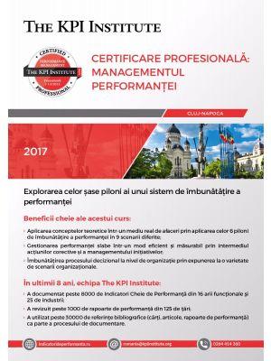 Certificare Profesională: Managementul Performanței, 7-9 Decembrie in Cluj