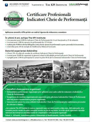 Certificare Profesionala: Indicatori Cheie de Performanta, 27 - 29 Aprilie in Bucuresti