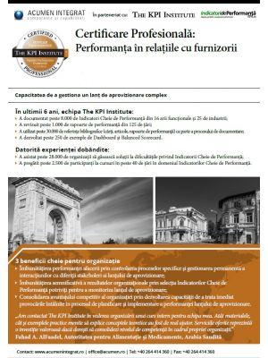 Certificare Profesionala: Performanta în Relatia cu Furnizorii, 16 - 18 Martie in Bucuresti