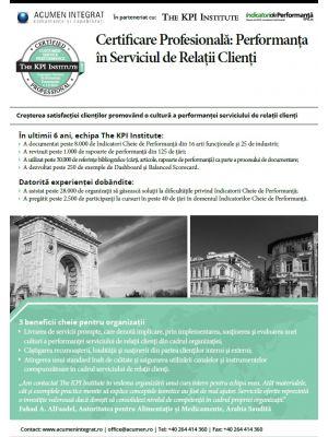 Certificare Profesionala: Performanta Serviciului de Relatii Clienti