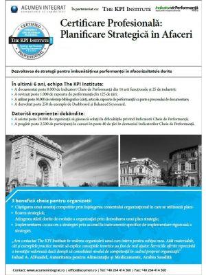 Certificare Profesionala: Planificare Strategica în Afaceri, 29 - 31 Martie in Bucuresti