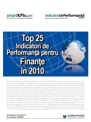 Top 25 Indicatori de Performanta pentru Finante in 2010