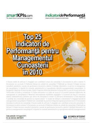 Top 25 Indicatori de Performanta pentru Managementul Cunoasterii in 2010