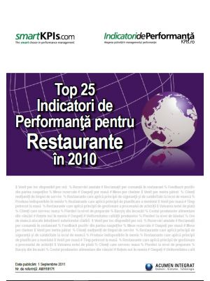 Top 25 Indicatori de Performanta pentru Restaurante in 2010