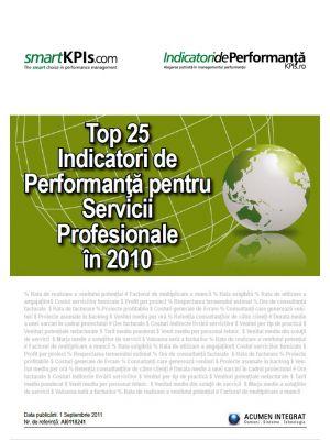 Top 25 Indicatori de Performanta pentru Servicii Profesionale in 2010