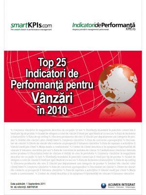 Top 25 Indicatori de Performanta pentru Vanzari in 2010